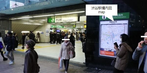 渋谷駅構内図map(JR線ハチ公改札前)