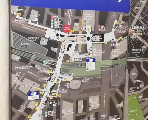 渋谷駅構内図map(東横/副都心線の宮益坂東口改札前)