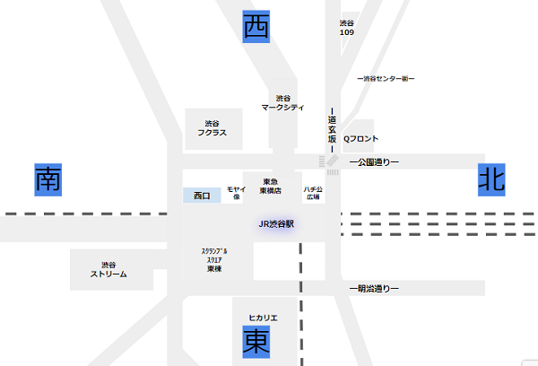渋谷駅構内図案内map(西が上部)