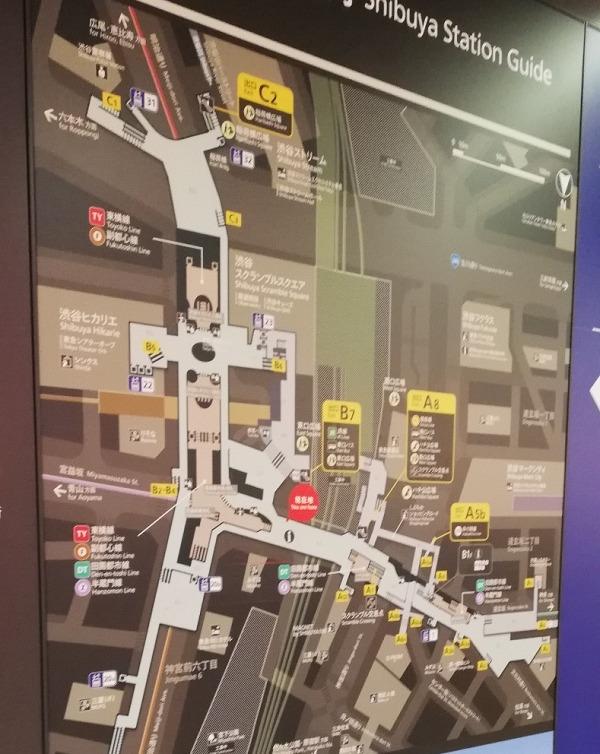 渋谷駅構内図map(東急観光案内所前)