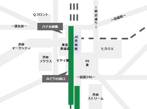 渋谷駅待ち合わせ場所(JR線周辺)