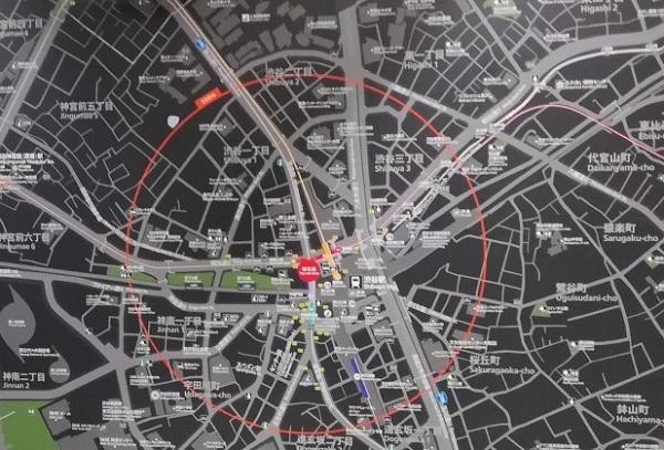 渋谷駅周辺map(拡大図)オレンジ枠は500m圏内