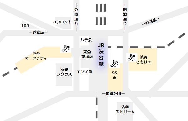 渋谷駅の各所のエスカレーター郡の場所