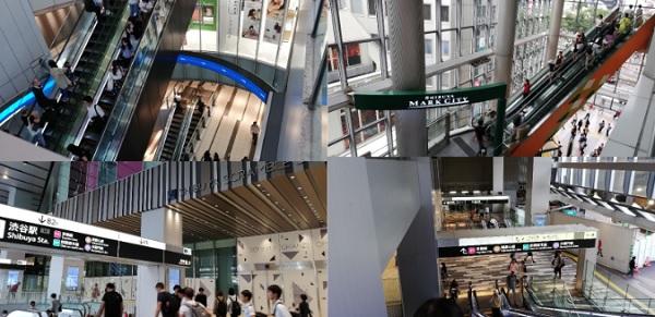 渋谷駅の各施設の複線エスカレーター