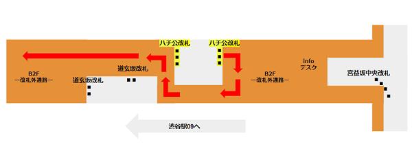 渋谷109への行き方(半蔵門/田園都市線ハチ公改札からの経路)