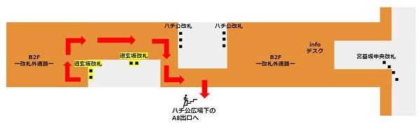 ハチ公口への行き方(半蔵門/田園都市線道玄坂改札からの経路)