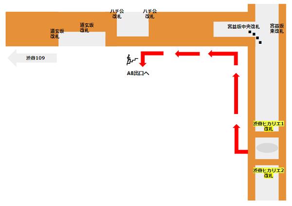 ハチ公口への行き方(東横副都心線ヒカリエ改札からの経路)