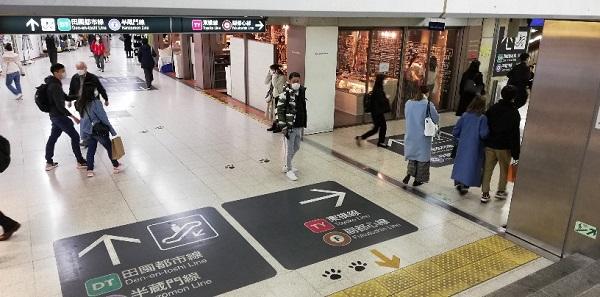 渋谷駅A8出口の地下通路