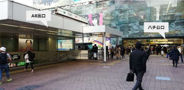 渋谷駅A8出口前(ハチ公口前)