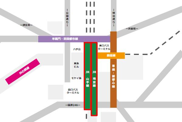 渋谷駅乗り換えmap(JR線から他路線へ)