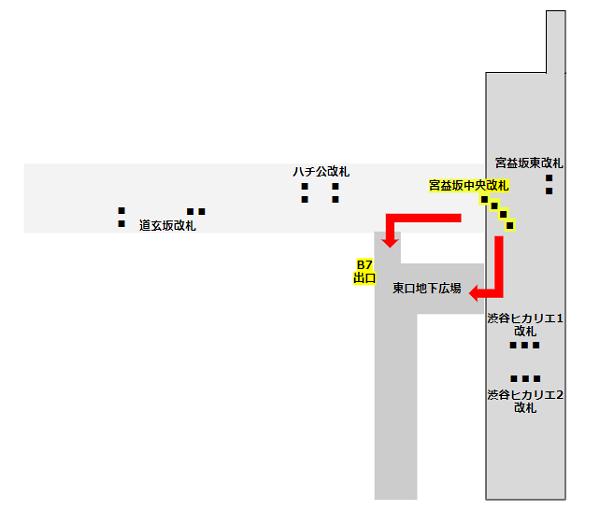 東横/副都心線、半蔵門線、東口地下広場map