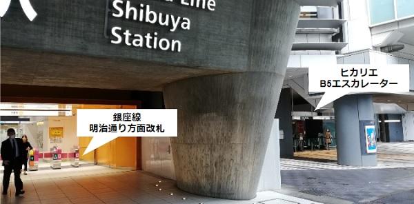 銀座線渋谷駅明治通り方面改札前、B5エスカレーター前