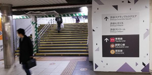 渋谷駅JR線の中央改札前の階段