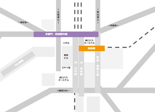 渋谷駅乗り換えmap(半蔵門田園都市線と銀座線の位置関係)