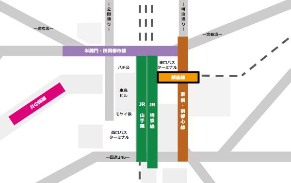 渋谷駅乗り換えmap(銀座線から他路線へ)