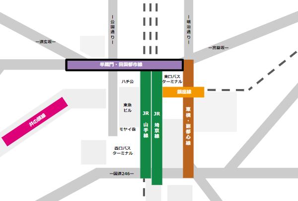 渋谷駅乗り換えmap(半蔵門/田園都市線から他路線へ)