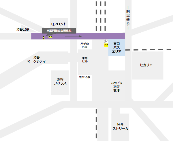 渋谷駅乗り換え(半蔵門/田園都市線道玄坂改札から東口バスのりば)