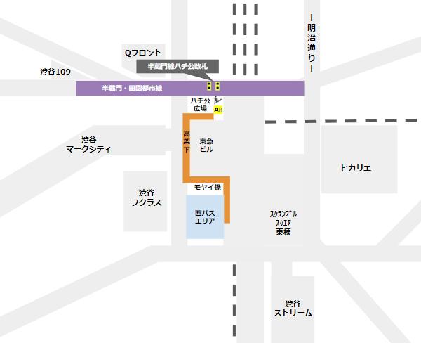 渋谷駅乗り換え(半蔵門/田園都市線ハチ公改札から西口バスのりば)
