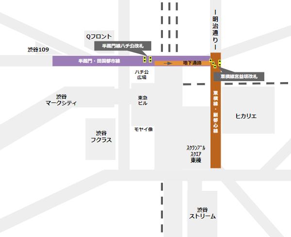 渋谷駅乗り換え(半蔵門/田園都市線ハチ公改札から東横副都心線)