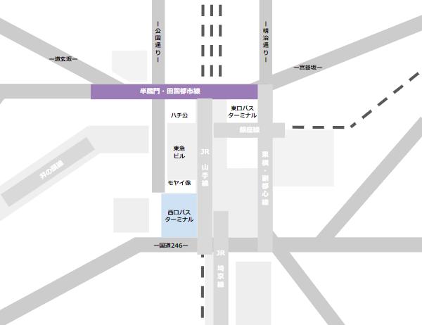 渋谷駅乗り換えmap(半蔵門田園都市線と西口バスのりばの位置関係)