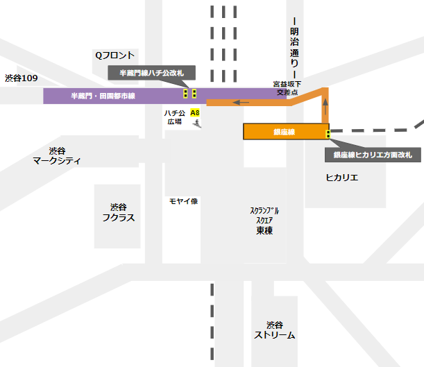 渋谷駅乗り換え(銀座線ヒカリエ方面改札から半蔵門/田園都市線)