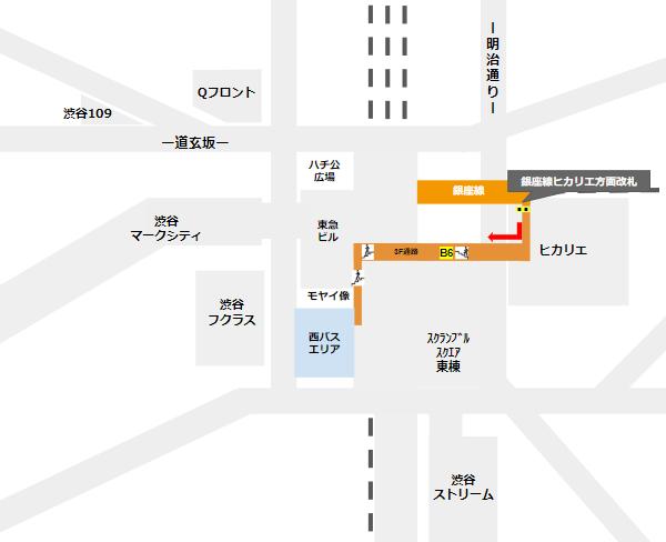 渋谷駅乗り換え(銀座線ヒカリエ方面改札から西口バスのりば)
