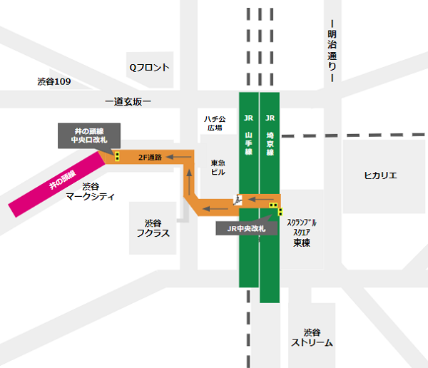 渋谷駅乗り換え(JR線中央改札から京王井の頭線)
