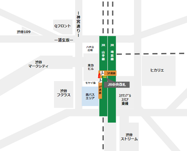 渋谷駅乗り換え(JR線中央改札から西口バスのりば)