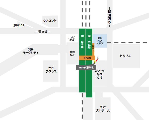 渋谷駅乗り換え(JR線中央東改札から東口バスのりば)