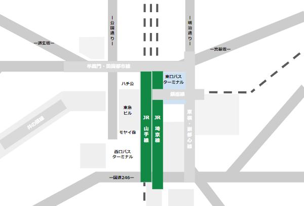 渋谷駅乗り換えmap(JR線と東口バスターミナルの位置関係)