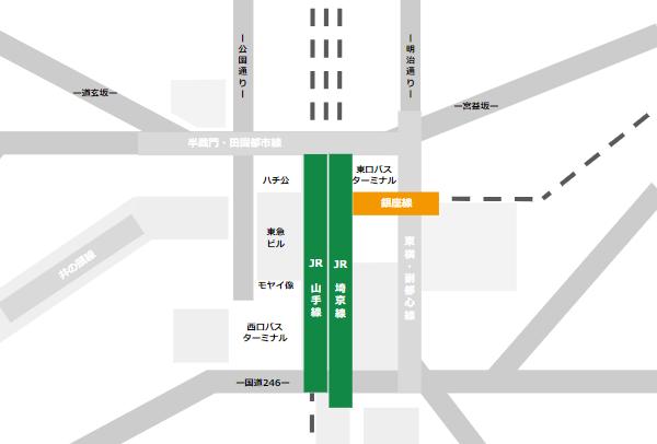 渋谷駅乗り換えmap(JR線と銀座線の位置関係)