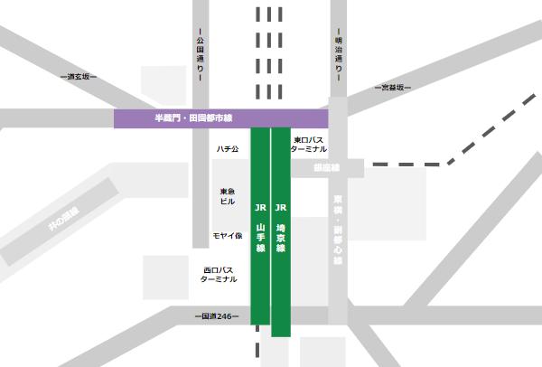 渋谷駅乗り換えmap(JR線と半蔵門/田園都市線の位置関係)