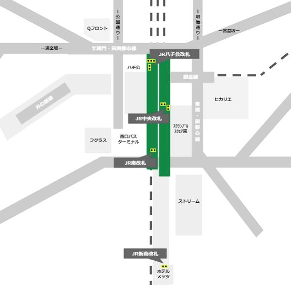 渋谷駅JR線の改札の位置