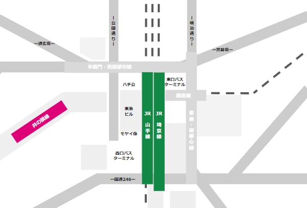渋谷駅乗り換えmap(JR線と京王井の頭線の位置関係)