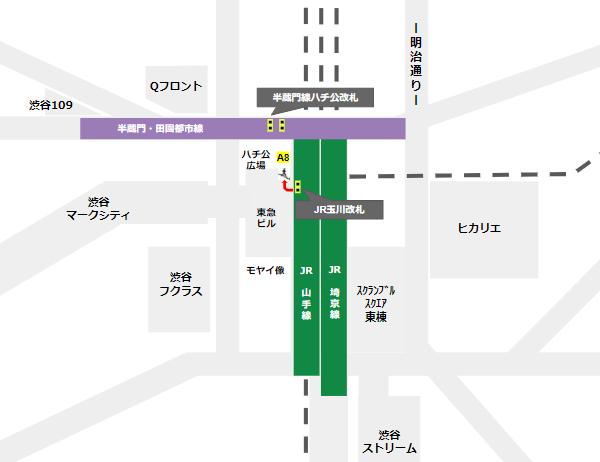 渋谷駅乗り換え(JR線玉川改札から半蔵門/田園都市線)