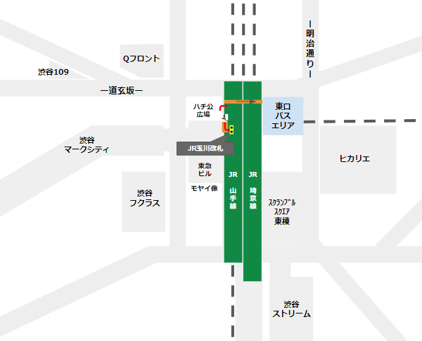 渋谷駅乗り換え(JR線玉川改札から東口バスのりば)