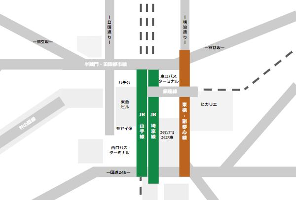 渋谷駅乗り換えmap(JR線と東急東横/副都心線の位置関係)