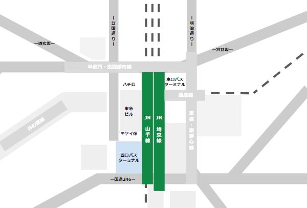 渋谷駅乗り換えmap(JR線と西口バスターミナルの位置関係)