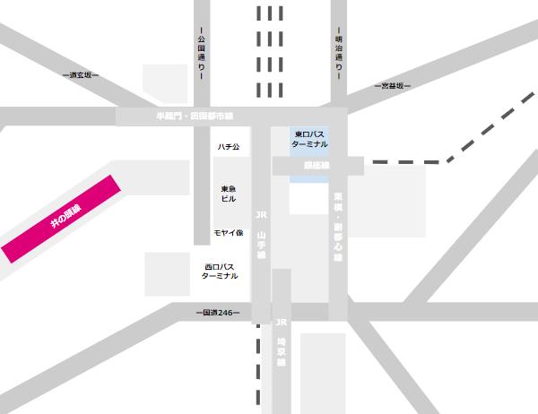 渋谷駅乗り換えmap(京王井の頭線と東口バスのりばの位置関係)