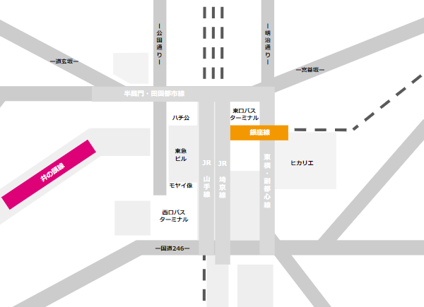 渋谷駅乗り換えmap(京王井の頭線と銀座線の位置関係)