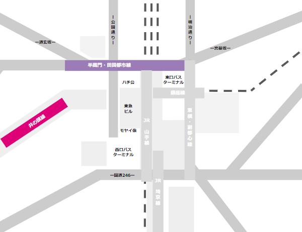 渋谷駅乗り換えmap(京王井の頭線と半蔵門田園都市線の位置関係)