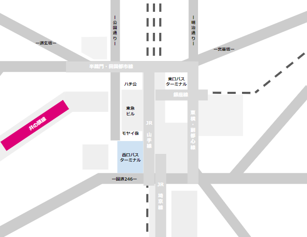 渋谷駅乗り換えmap(京王井の頭線と西口バスのりばの位置関係)