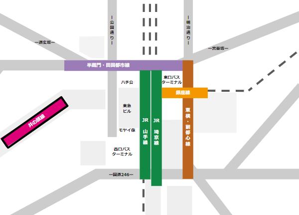 渋谷駅乗り換えmap(京王井の頭線から他路線へ)