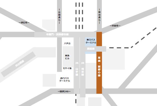 渋谷駅乗り換えmap(東急東横副都心線と東口バスのりばの位置関係)