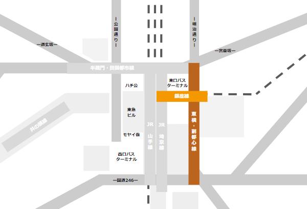 渋谷駅乗り換えmap(銀座線と東急東横副都心線の位置関係)