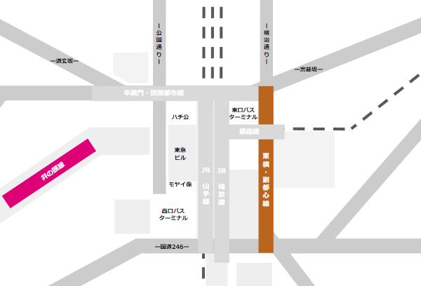 渋谷駅乗り換えmap(東急東横副都心線と京王井の頭線の位置関係)