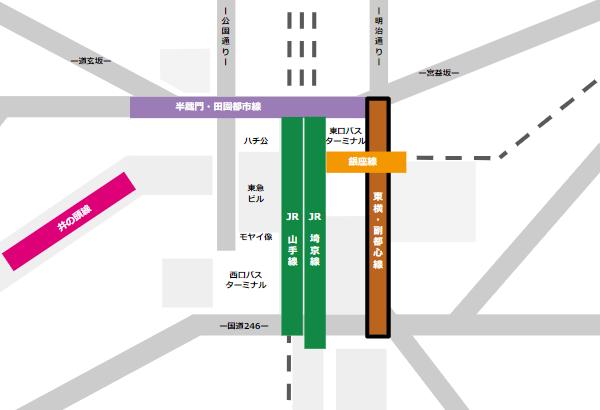 渋谷駅乗り換えmap(東急東横/副都心線から他路線へ)