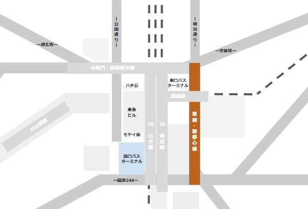 渋谷駅乗り換えmap(東急東横副都心線と西口バスのりばの位置関係)