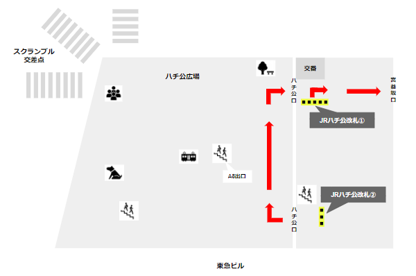 渋谷駅ハチ公広場詳細マップ