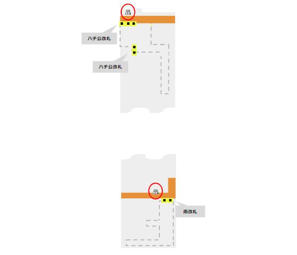 渋谷駅構内図(JR線1FATMの場所)